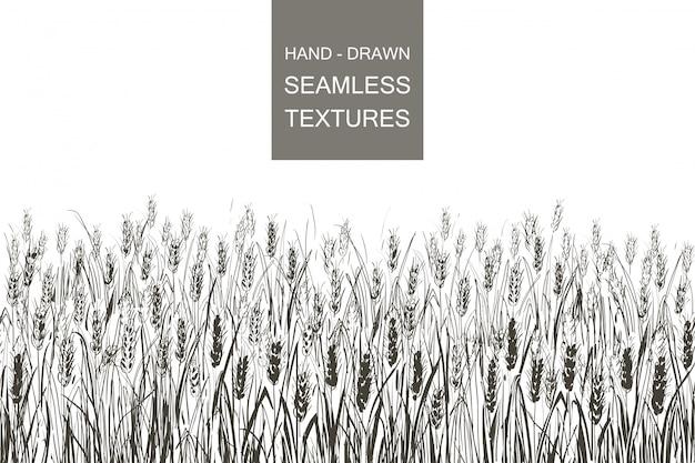 Campo de trigo de patrones sin fisuras de vector. dibujado a mano ilustración de grabado de campo