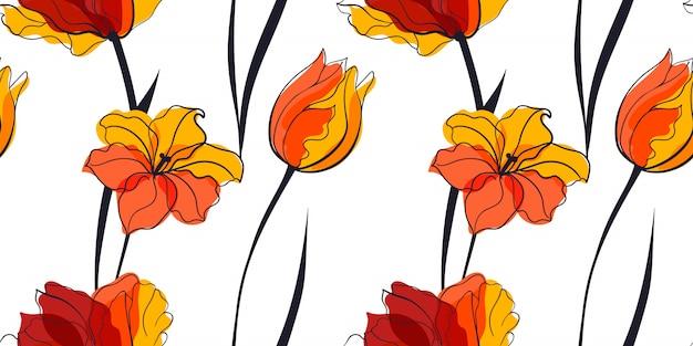 Campo de tulipanes amarillos de patrones sin fisuras en el estilo escandinavo