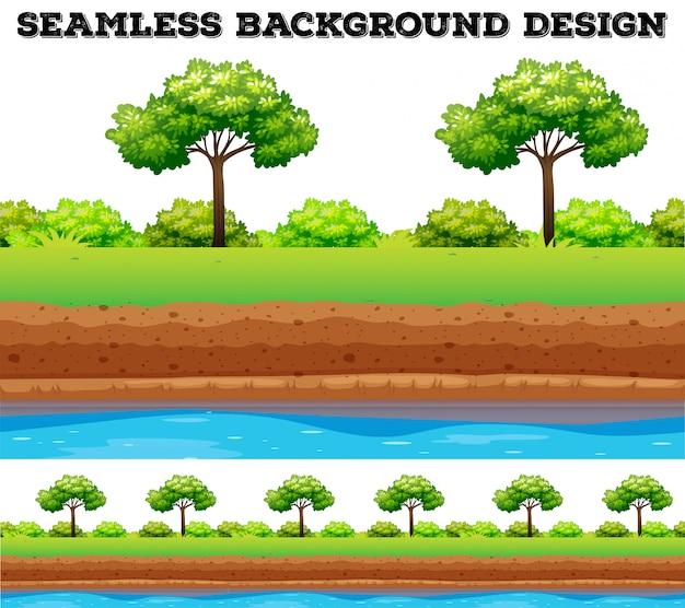 Campo verde con arbol y arbusto.