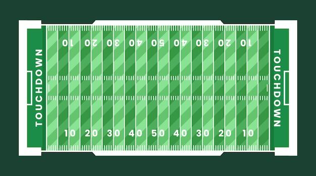 Campo verde de fútbol americano plano laico