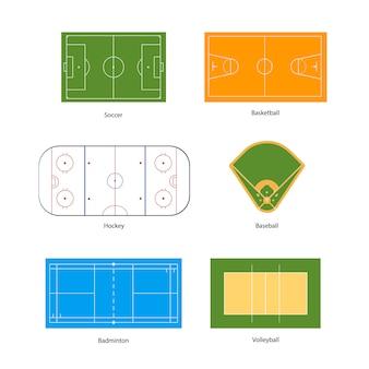 Campos deportivos marcados para fútbol, baloncesto, voleibol, béisbol, hockey y bádminton, aislados