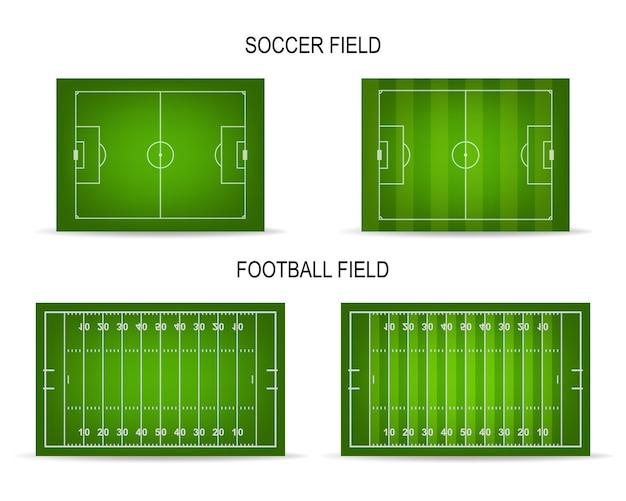 Campos de fútbol y fútbol americano con perspectiva.