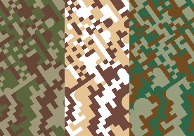 Camuflaje militar de píxeles geométricos verdes y marrones
