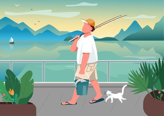 Caña de pescar del hombre en la ilustración de color plano del área de la costa. pescador macho con gato. ocio de verano.