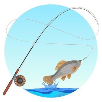 Caña de pescar con pescado capturado en el anzuelo. el agua salpica y cae debajo de un animal de sangre fría con aletas y branquias. insignia deportiva de pesca de hobby