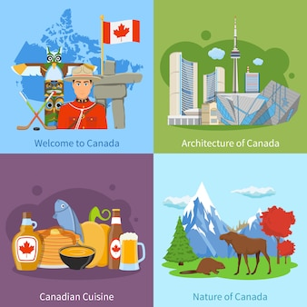 Canada travel 4 flat icons square