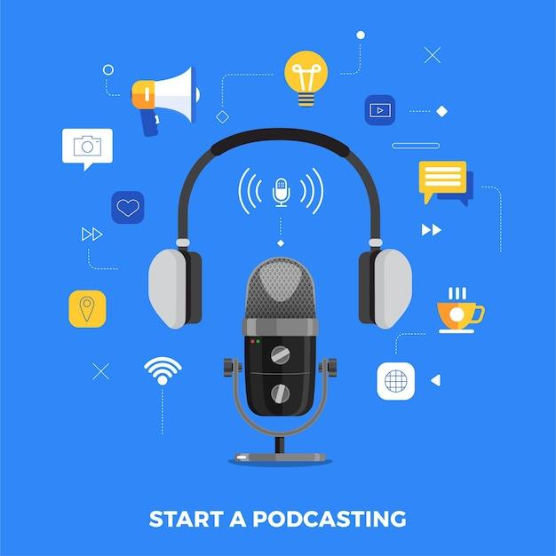 Canal de podcast de diseño de concepto de ilustraciones. el trabajo en equipo hace podcasting la mesa de micrófono de estudio transmite gente. podcast de radio.