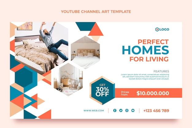 Canal de youtube de bienes raíces geométricos de diseño plano
