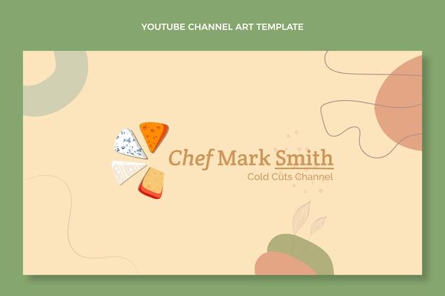 Canal de youtube de comida de diseño plano