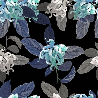 Cananga flor de patrones sin fisuras en púrpura