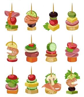 Canapé de aperitivo ilustración vectorial de dibujos animados. canapé para buffet conjunto de iconos. ilustración vectorial comida fría. establecer icono aperitivo frío.