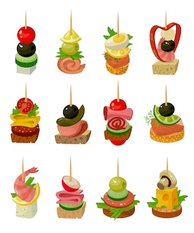 Canape de ilustración de alimentos sobre fondo blanco. dibujos animados aislados establecer icono aperitivo. conjunto de dibujos animados icono canape de comida.