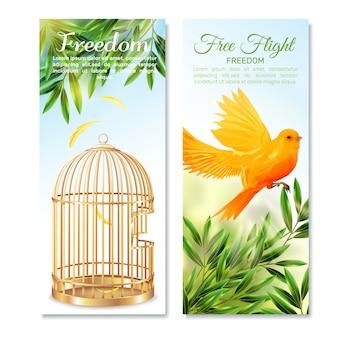 Canarios en vuelo libre banners verticales