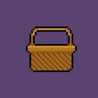 Canasta de alimentos con estilo pixel art