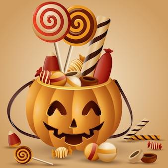 Canasta de calabazas de halloween y dulces recolectados.