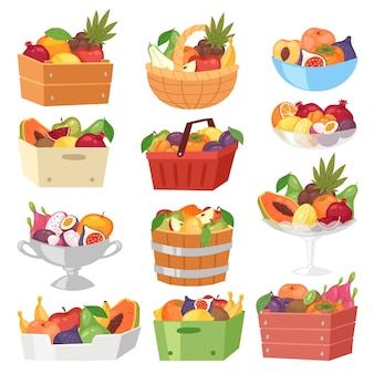 Canasta de frutas con sabor a fruta manzana plátano y papaya exótica en caja ilustración conjunto fructífero naranja jugosa con rodajas frescas de fruta del dragón tropical en un recipiente aislado sobre fondo blanco.