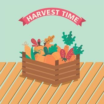 Una canasta llena de verduras y frutas vector de temporada de otoño