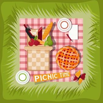 Canasta de picnic de dibujos animados