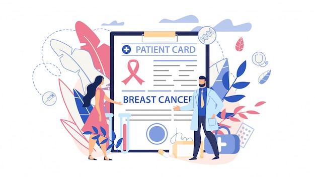 Cáncer de mama diagnóstico y conciencia plana de dibujos animados