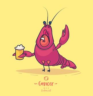 Cáncer de signo zodiacal. gallo y una cerveza. cartel del fondo de la tarjeta de felicitación del zodiaco.