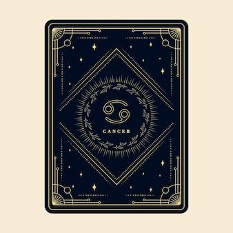 Cáncer signos del zodíaco tarjetas del horóscopo constelación estrellas tarjeta decorativa del zodiaco con marco decorativo