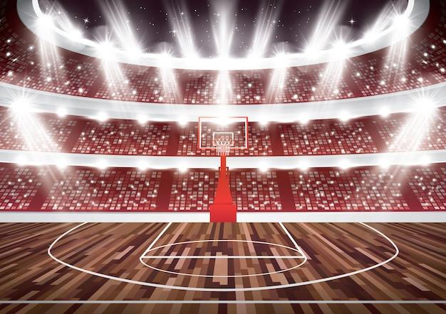 Cancha de baloncesto con aro y focos.