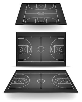 Cancha de baloncesto negra con perspectiva.