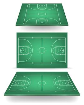Cancha de baloncesto verde con perspectiva.