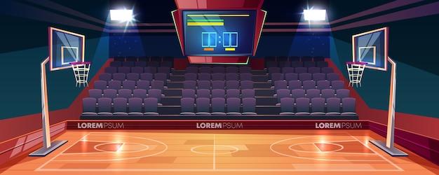 Cancha de básquetbol con piso de madera, marcador en el techo y caricaturas del sector de ventiladores vacíos.