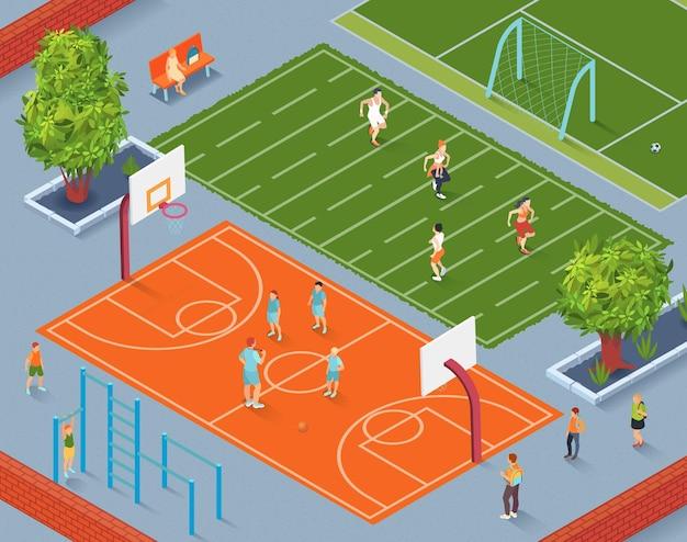 Cancha de deportes de la escuela isométrica con alumnos de entrenamiento de entrenador en la ilustración de cancha de baloncesto,