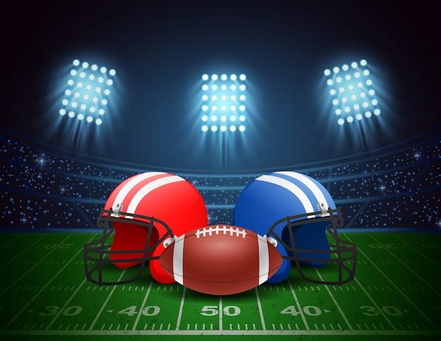 Cancha de fútbol americano, casco, pelota con brillante diseño de iluminación del estadio. ilustración vectorial