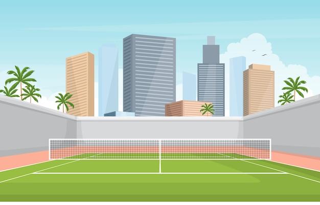 Cancha de tenis al aire libre deporte juego recreación dibujos animados ciudad paisaje