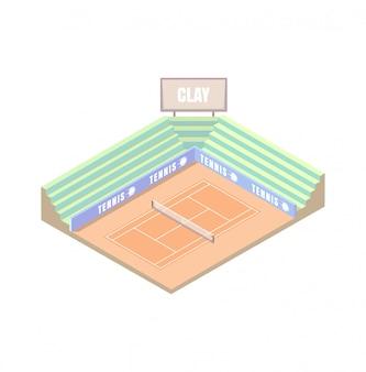 Cancha de tenis, cubierta de campo de arcilla, plataforma isométrica naranja