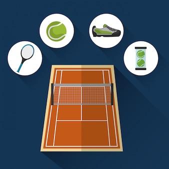 Cancha de tenis con elementos deportivos.