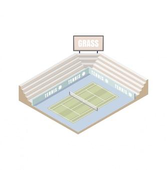 Cancha de tenis, plataforma isométrica cubierta de césped