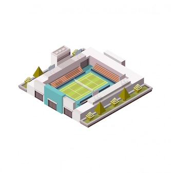 Cancha de tenis, plataforma isométrica cubierta de hierba, ilustración, juego de tenis, bajo poli. área abierta. 3d