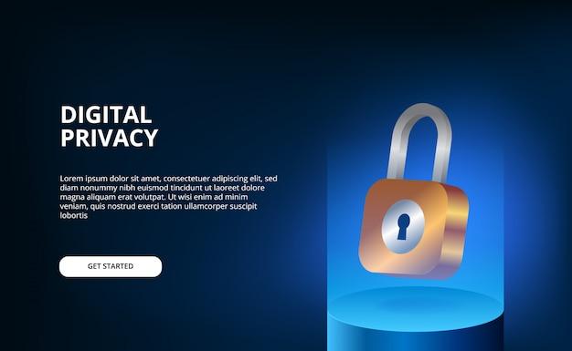 Candado 3d flotante con azul degradado moderno concepto de ilustración futurista para seguridad y seguridad de privacidad personal digital. ilustración de la página de destino