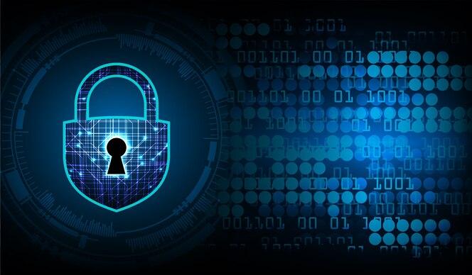 Candado cerrado en el fondo digital, seguridad cibernética