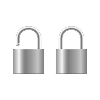 Candado cerrado realista para privacidad de protección aislado sobre fondo blanco. cerradura de acero de metal de diseño artístico. cerrado y abierto.