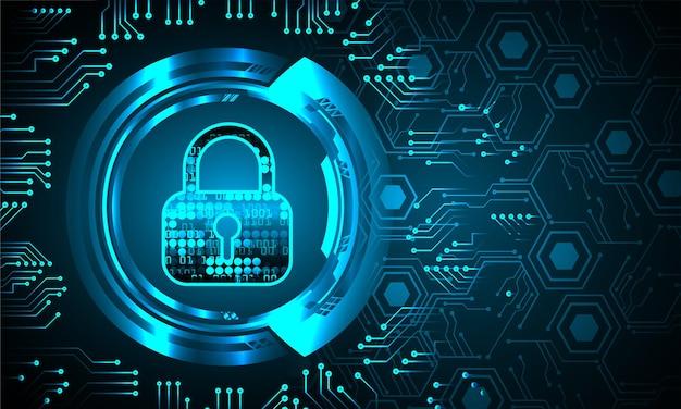 Candado cerrado en seguridad cibernética de fondo digital