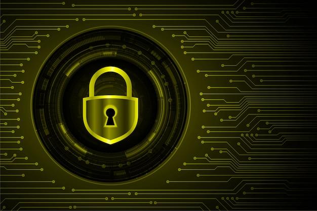 Candado cerrado sobre fondo digital, seguridad cibernética amarilla