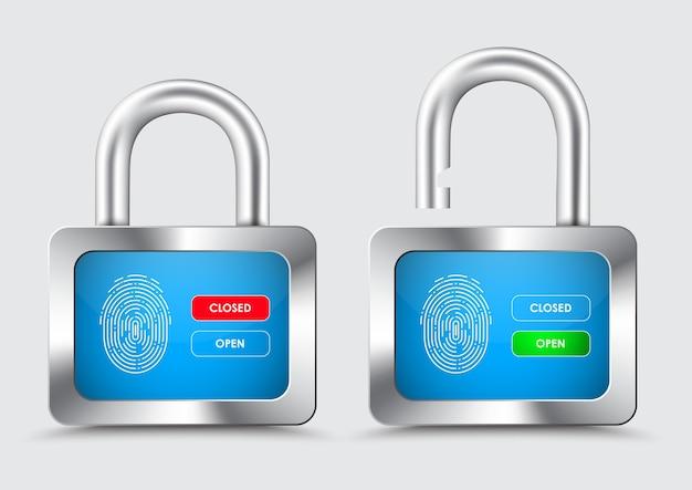 Candado cromado, con display azul con huella dactilar para control de protección, y botones de apertura y cierre