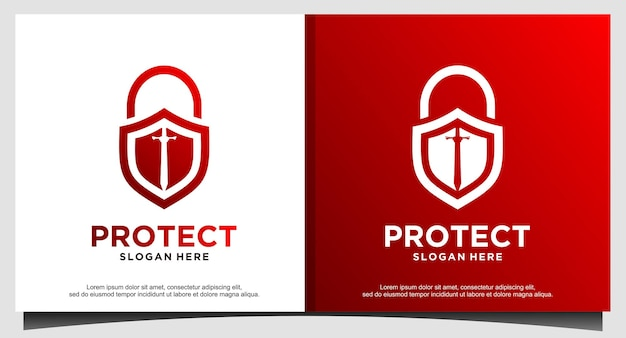 Candado espada proteger seguridad logo diseño vector