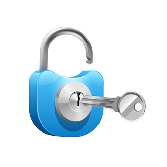 Candado de metal azul con llave para abrir o cerrar