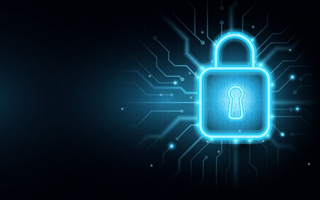 Candado en la placa de circuito con fondo de seguridad cibernética
