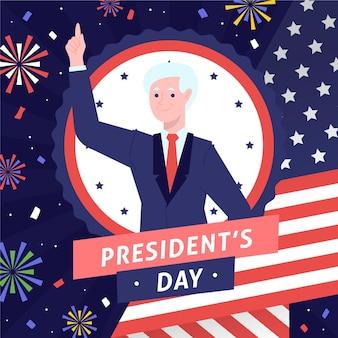 Candidato del día del presidente dibujado a mano y fuegos artificiales.