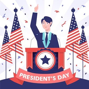 Candidato del día del presidente dibujado a mano