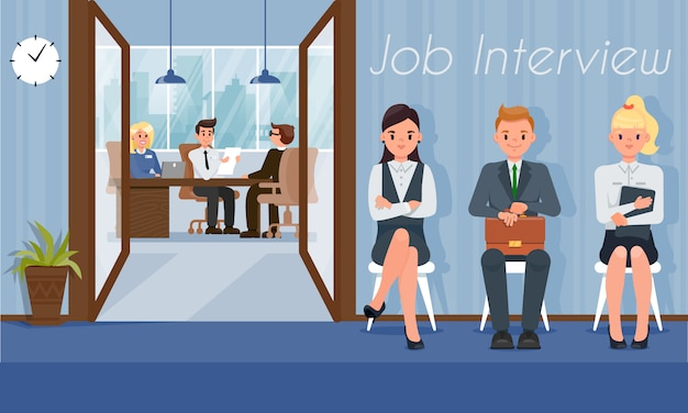 Candidatos laborales esperan turno de entrevista con gerente de recursos humanos