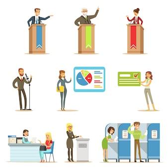 Candidatos políticos y proceso de votación serie de elecciones democráticas ilustraciones temáticas
