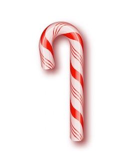 Candy christmas aislado. marco de cordón trenzado rojo y blanco.
